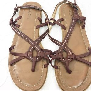 Aldo Brown Leather Sandals 37/7